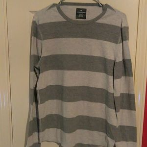 American Eagle Gray &White Striped Thermal Sweater